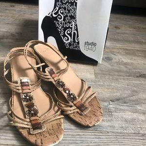 💕5/$25💕 Studio 1940 Gem Accented Wedge Sandals